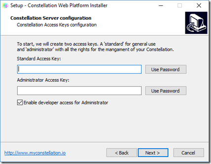 Configuration des Access Keys