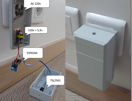 Créer un capteur de luminosité dans une prise 220v avec un ESP8266