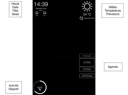 L'interface finale du miroir: le choix du noir et blanc permet un meilleur rendu sur le miroir