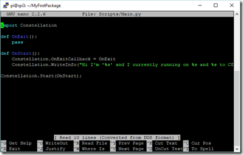 Edition des scripts Python avec Nano