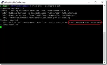 Démarrage du package en local mais connecté à un serveur Constellation
