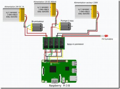 Schéma du relais et de la Raspberry